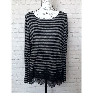 WHBM Striped Jersey Soft Long Sleeve Top Shirt